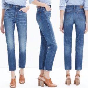 Madewell Straight Leg Crop Blue Wash Jeans